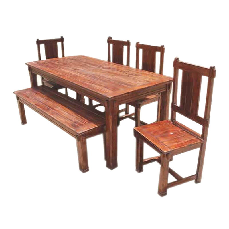 Solid Wood Dining Table Sets: Rustic Solid Wood Santa Cruz Dining Table Set