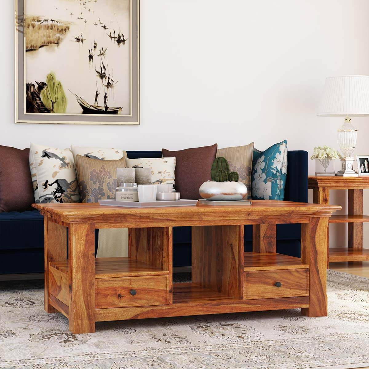 Santa Cruz Shaker Style Multi Compartment Coffee Table