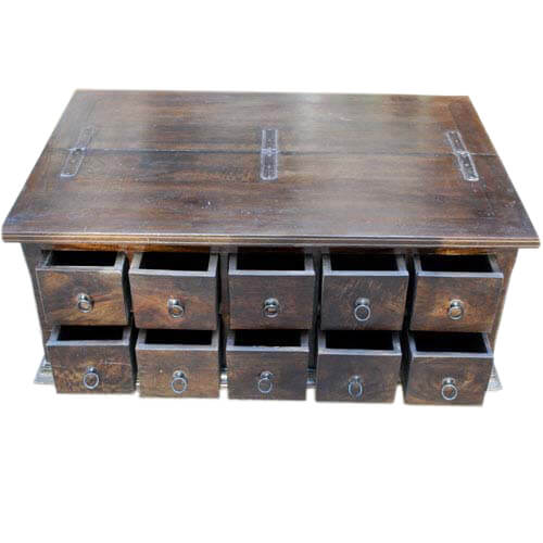 Coffee Table With Drawers: Classic Wood Storage Coffee Table With 10 Drawers