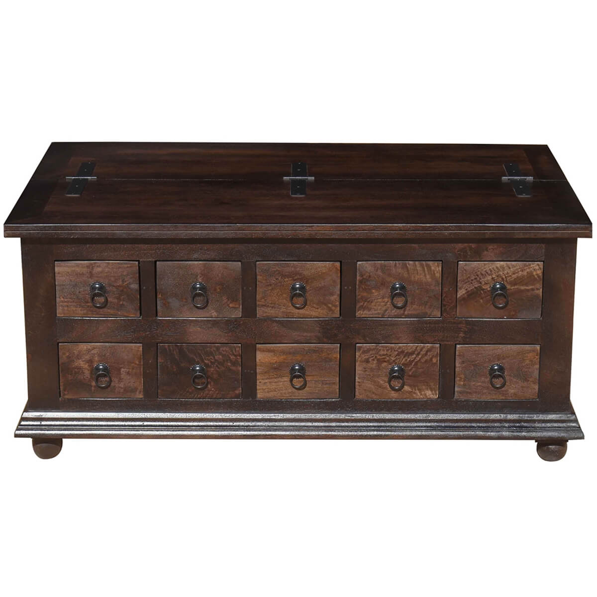 Rustic wood storage coffee table trunk with pillbox drawers