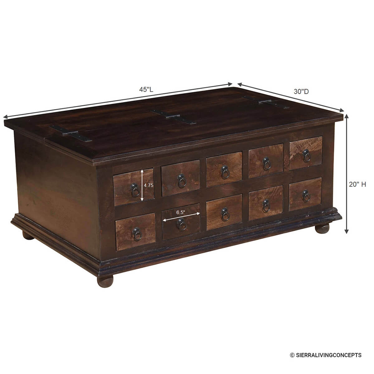 Classic wood storage coffee table with drawers