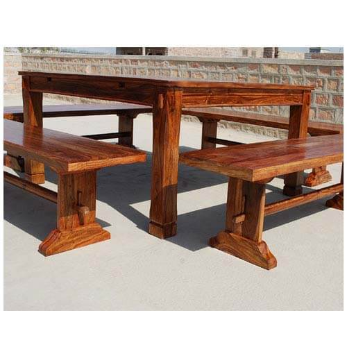 Rustic Mission Santa Cruz Solid Wood Dining Room Set For 4: Rustic Square Santa Cruz Dining Table With 4 Benches For 8