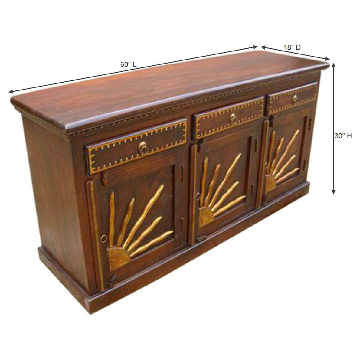 santa fe brass dining room sideboard buffet storage cabinet