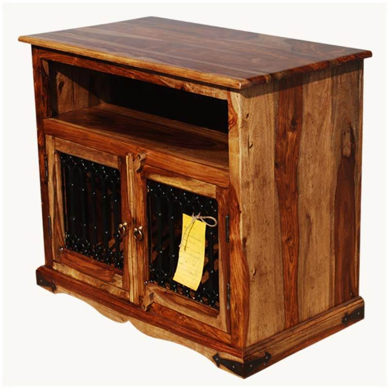transitional solid wood rustic tv stand media center w wrought iron. Black Bedroom Furniture Sets. Home Design Ideas