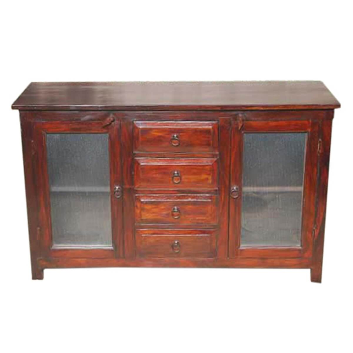 Rustic Frosted Solid Wood Glass Door 4 Drawer Sideboard