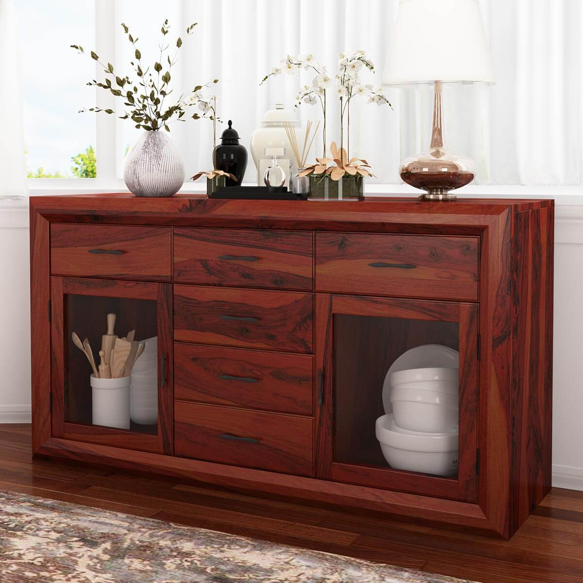 Sierra Glass Door Solid Wood Dining Room 6 Drawer Sideboard