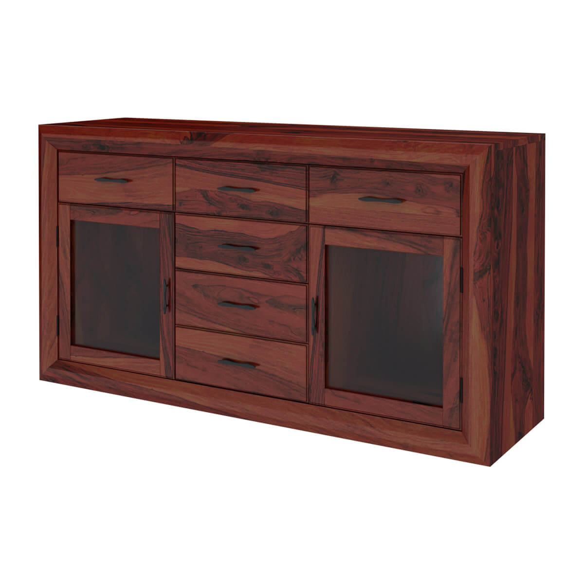 Minsk rustic traditional rosewood glass door 3 drawer for Sideboard glas