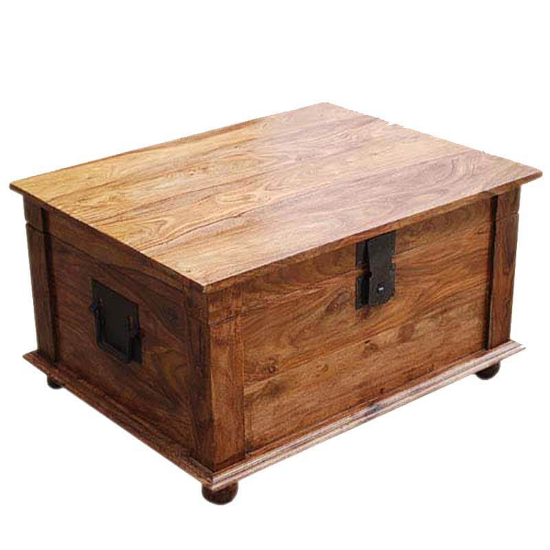 Sierra nevada solid wood coffee table storage trunk for Solid wood coffee table