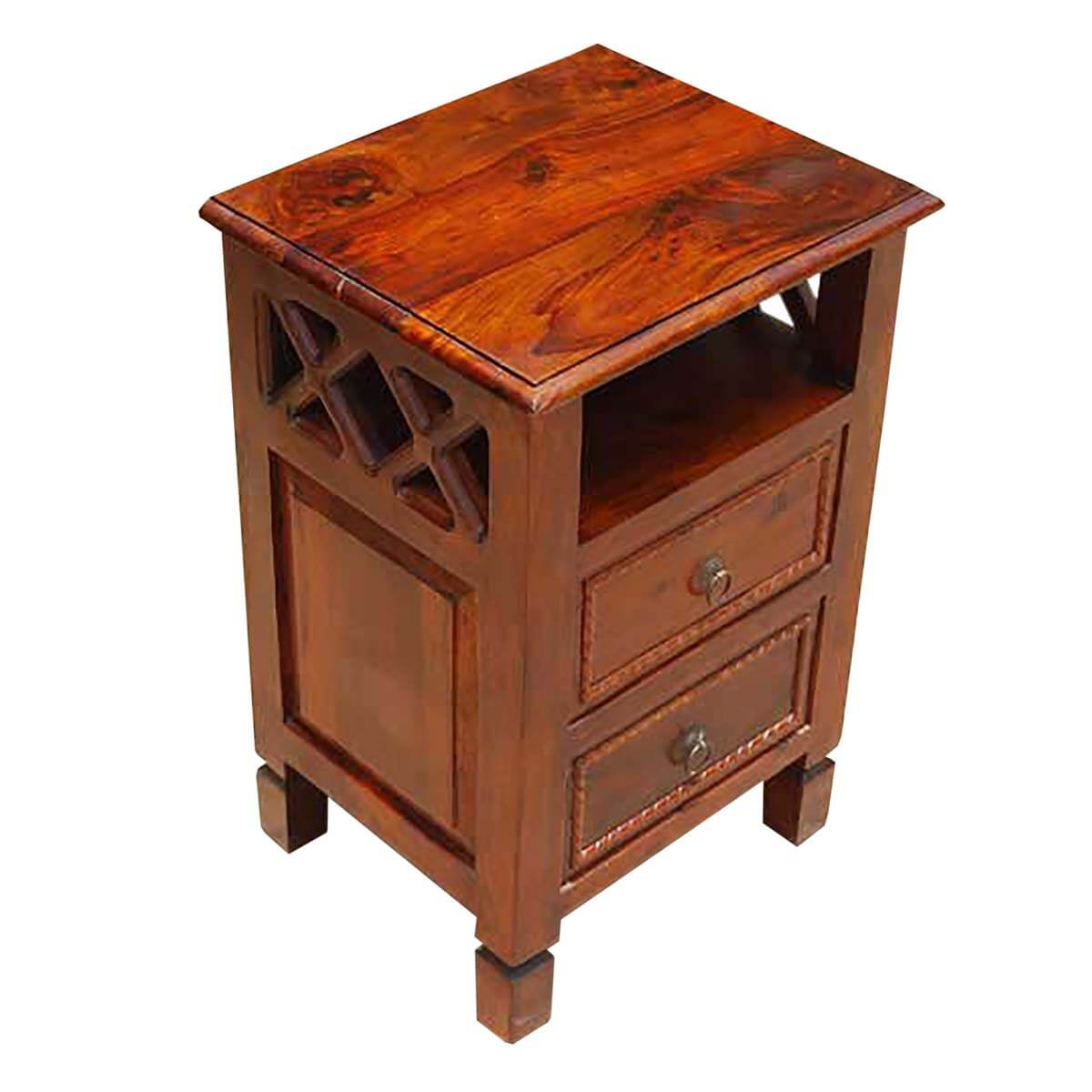 Solid wood storage drawers side end table night stand