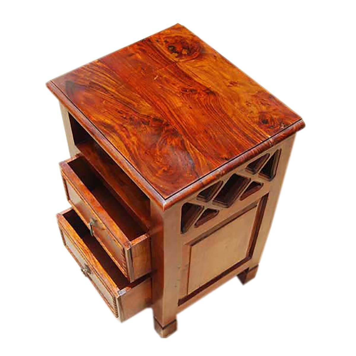 Wooden Tables Storage ~ Solid wood storage drawers side end table night stand