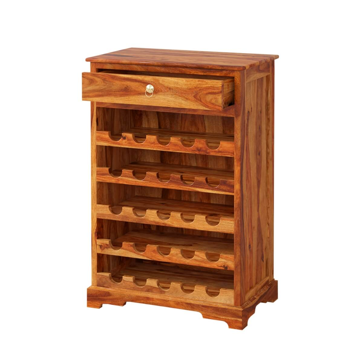 Wood Wine Bar ~ Mercer rustic solid wood bottles wine bar cabinet
