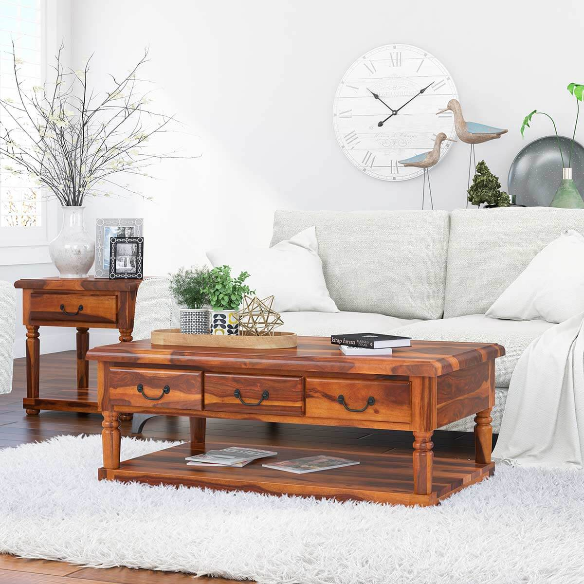 Solid Wood 2 Tier 3 Drawer Cocktail Coffee Table