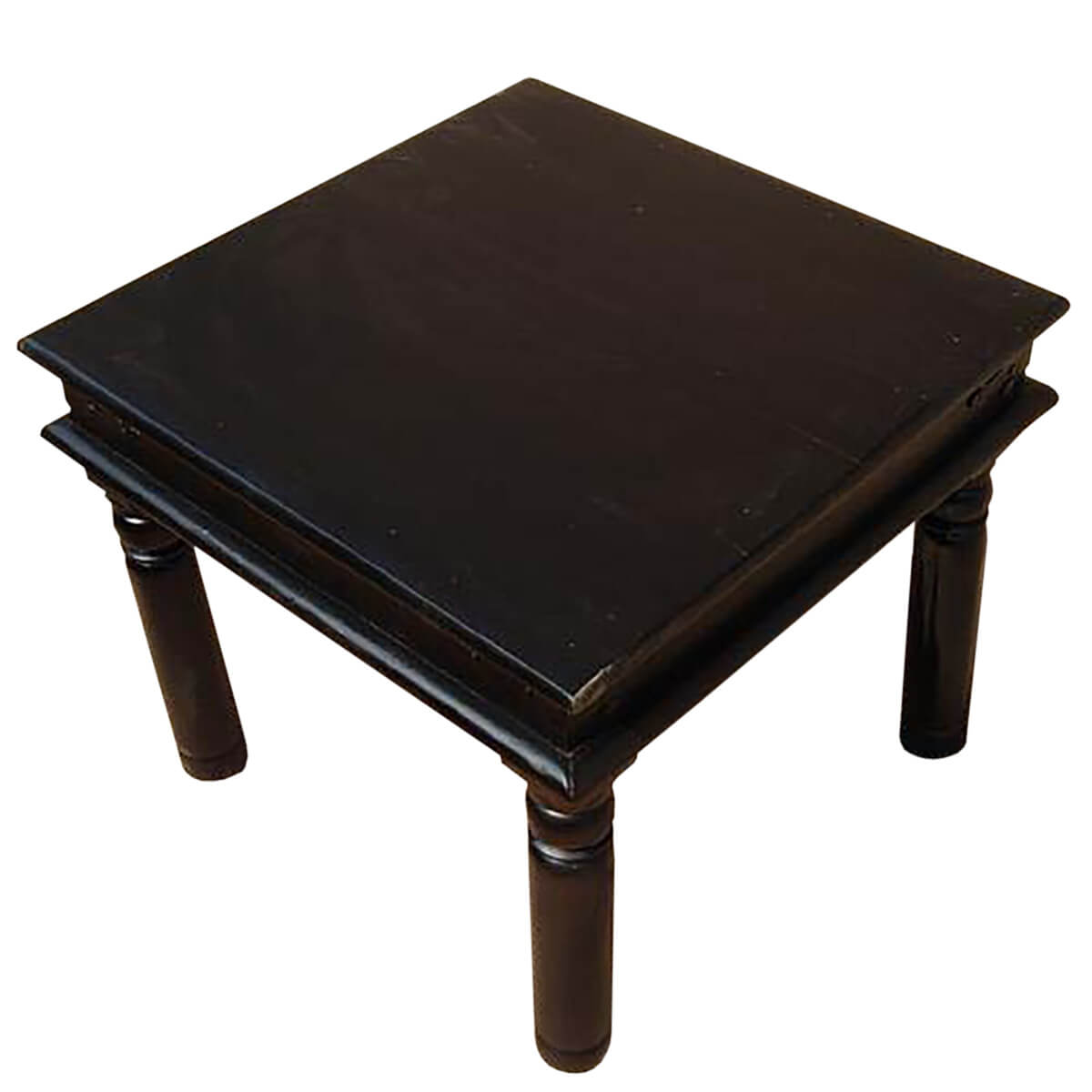 Black Wood Square End Corner Side Table