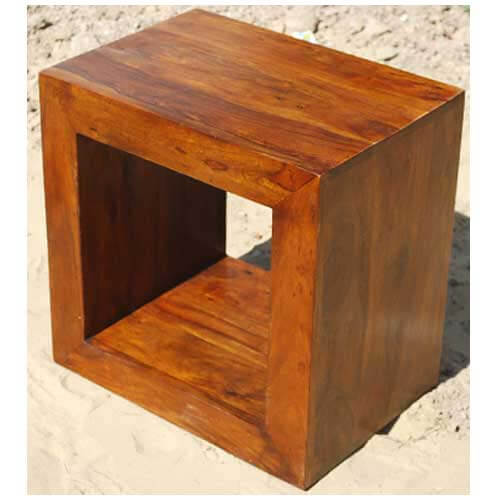 Block Wood Side Table ~ Solid wood block coffee table book shelf bed side set