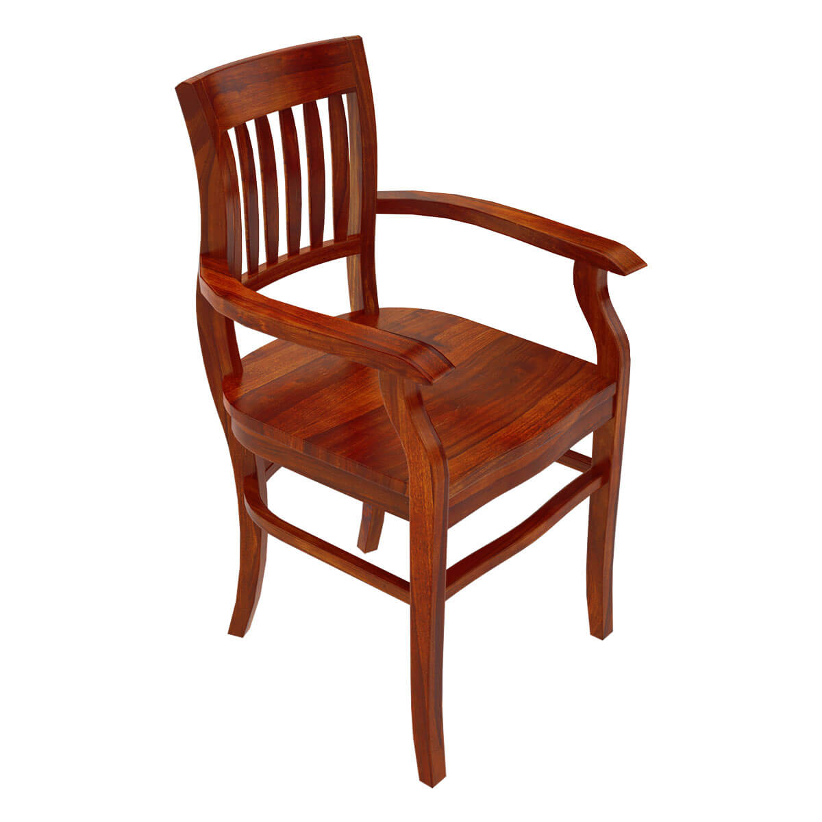 Siena rustic solid wood arm dining chair for Wood dining chairs with arms