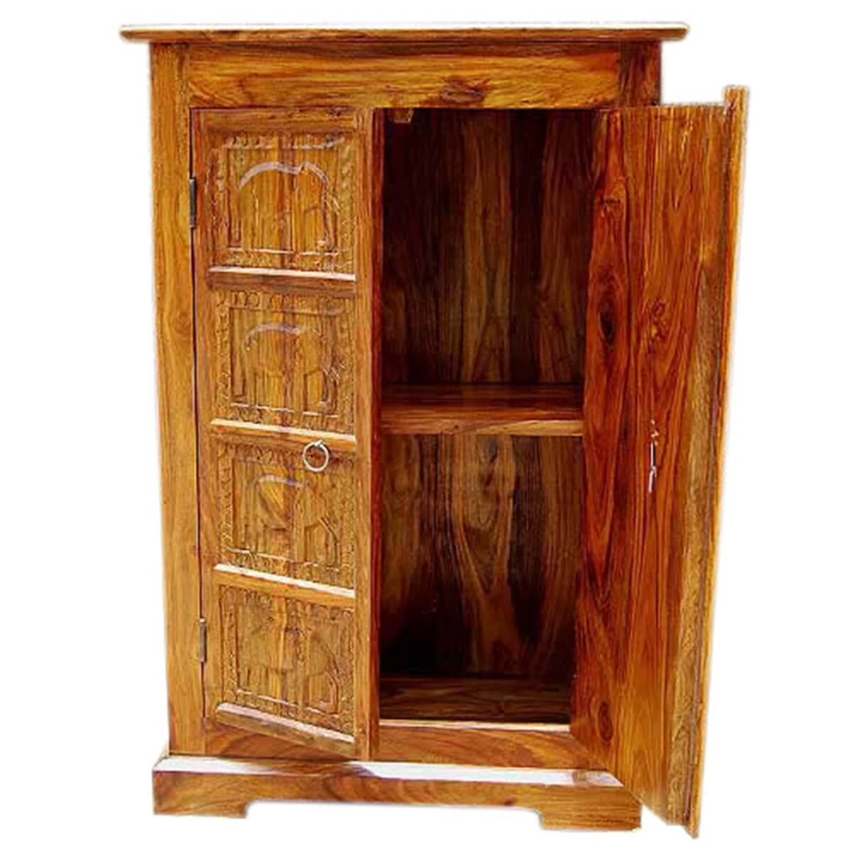 Mendon solid wood handcarved door armoire