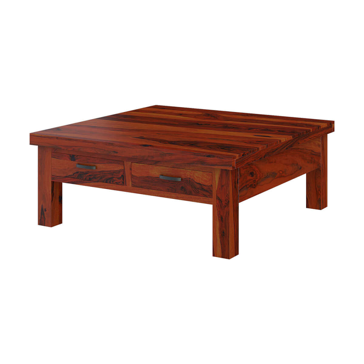 Coffee Table With Drawers: Cheverly Modern Style Solid Wood 4 Drawers Square Coffee Table