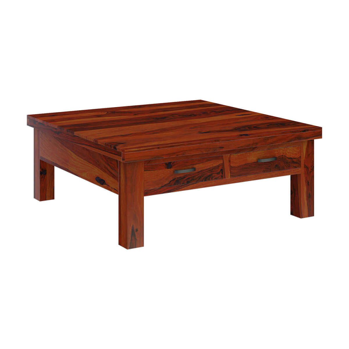 Square Coffee Table: Cheverly Modern Style Solid Wood 4 Drawers Square Coffee Table