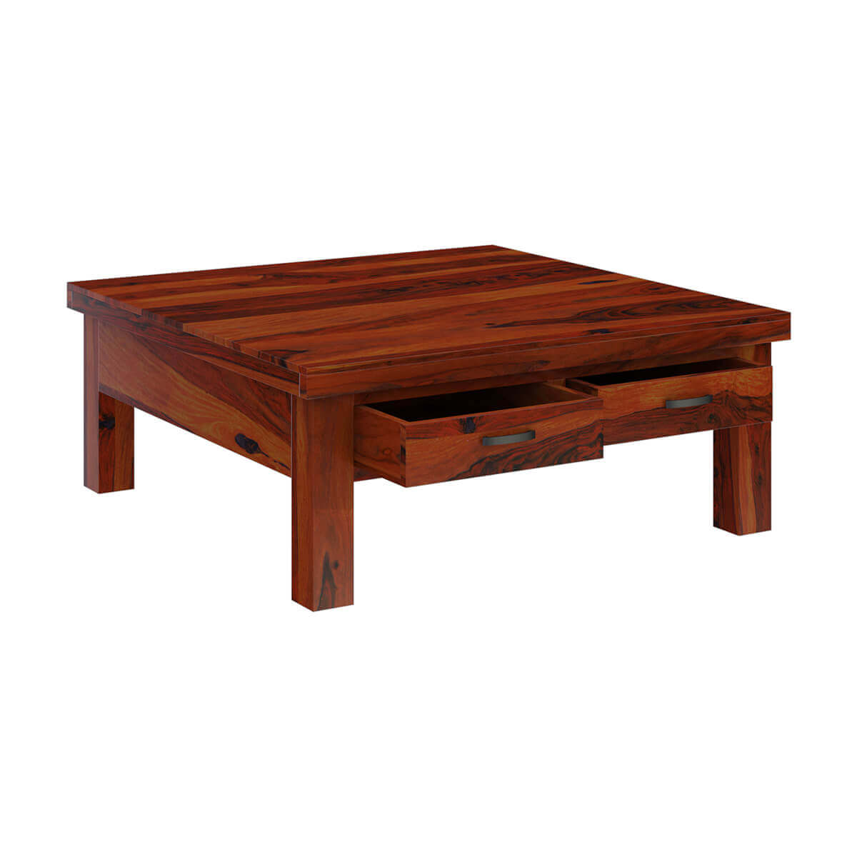 Cheverly modern style solid wood 4 drawers square coffee table for Solid wood coffee table