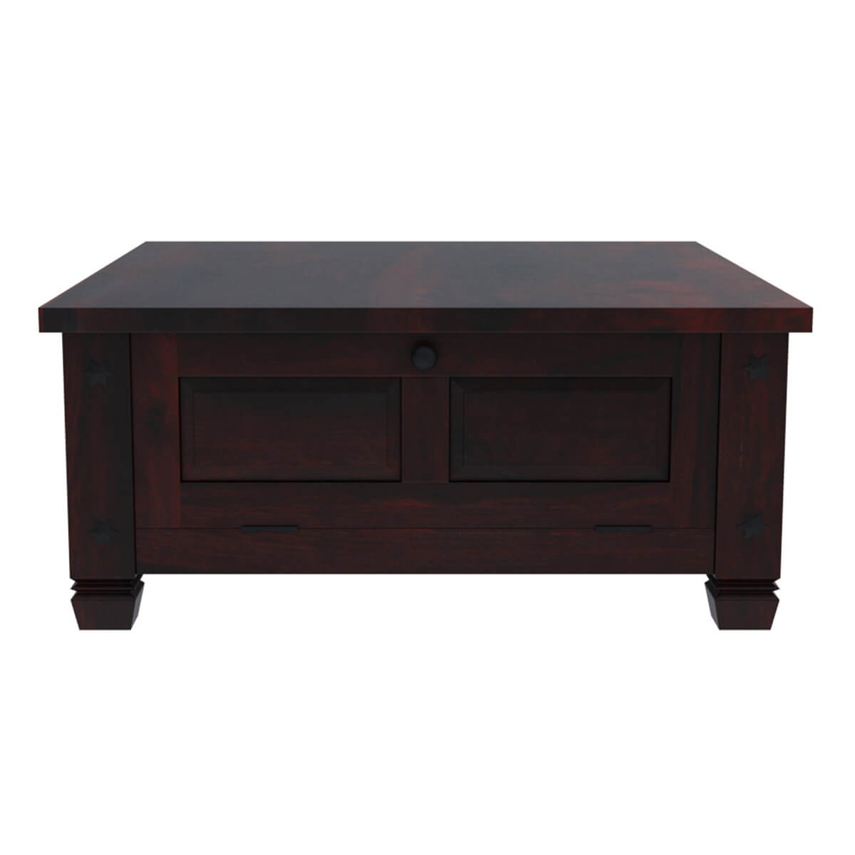 Russet Solid Wood 4 Doors Square Rustic Coffee Table With
