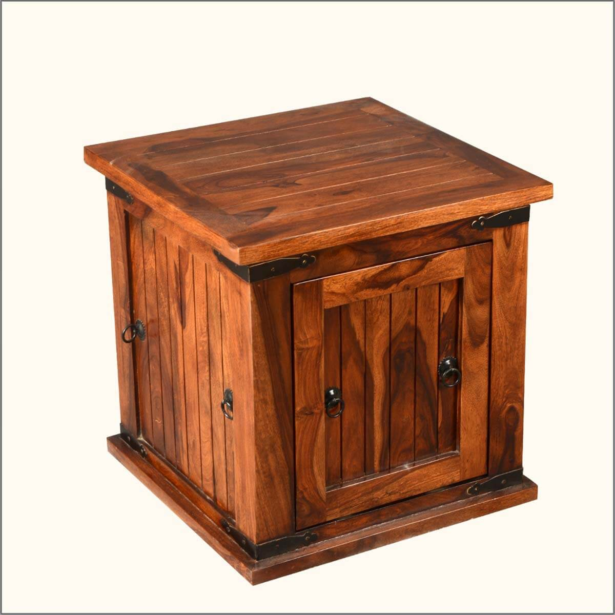 Solid Wood Square Storage Box Trunk Sofa Side End Table