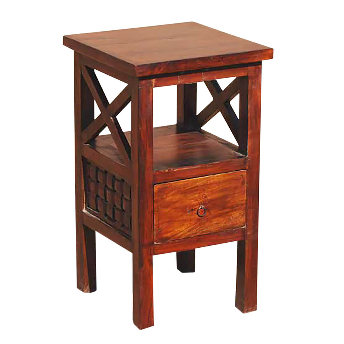 Solid wood storage drawer side telephone lamp night stand