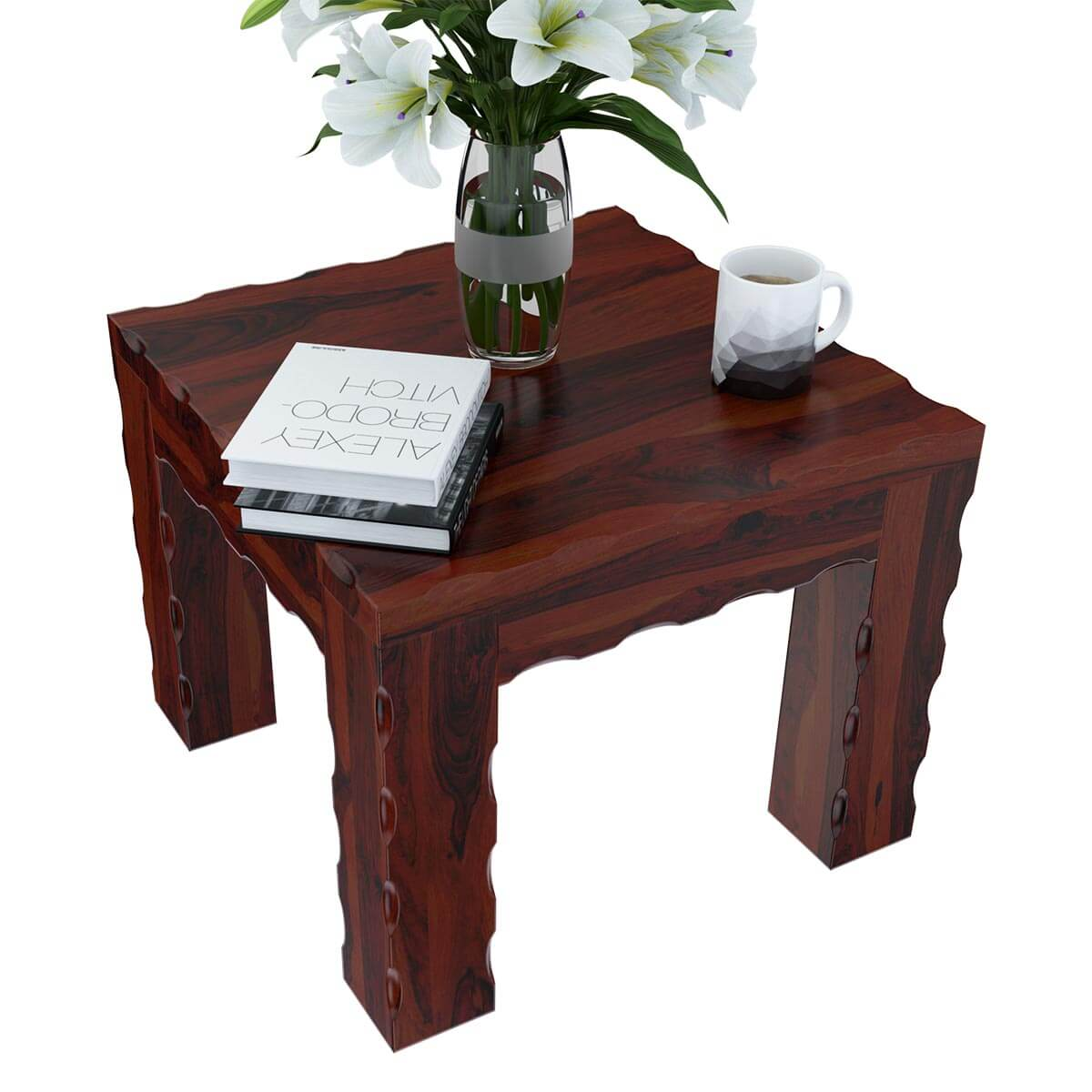 Solid wood unique square wood bed side end table stand for Unique end tables