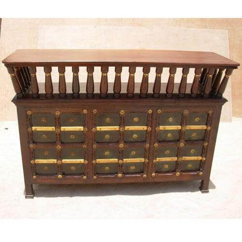 Antique Wine Home Pub Bar Counter Wine Storage Cabinet