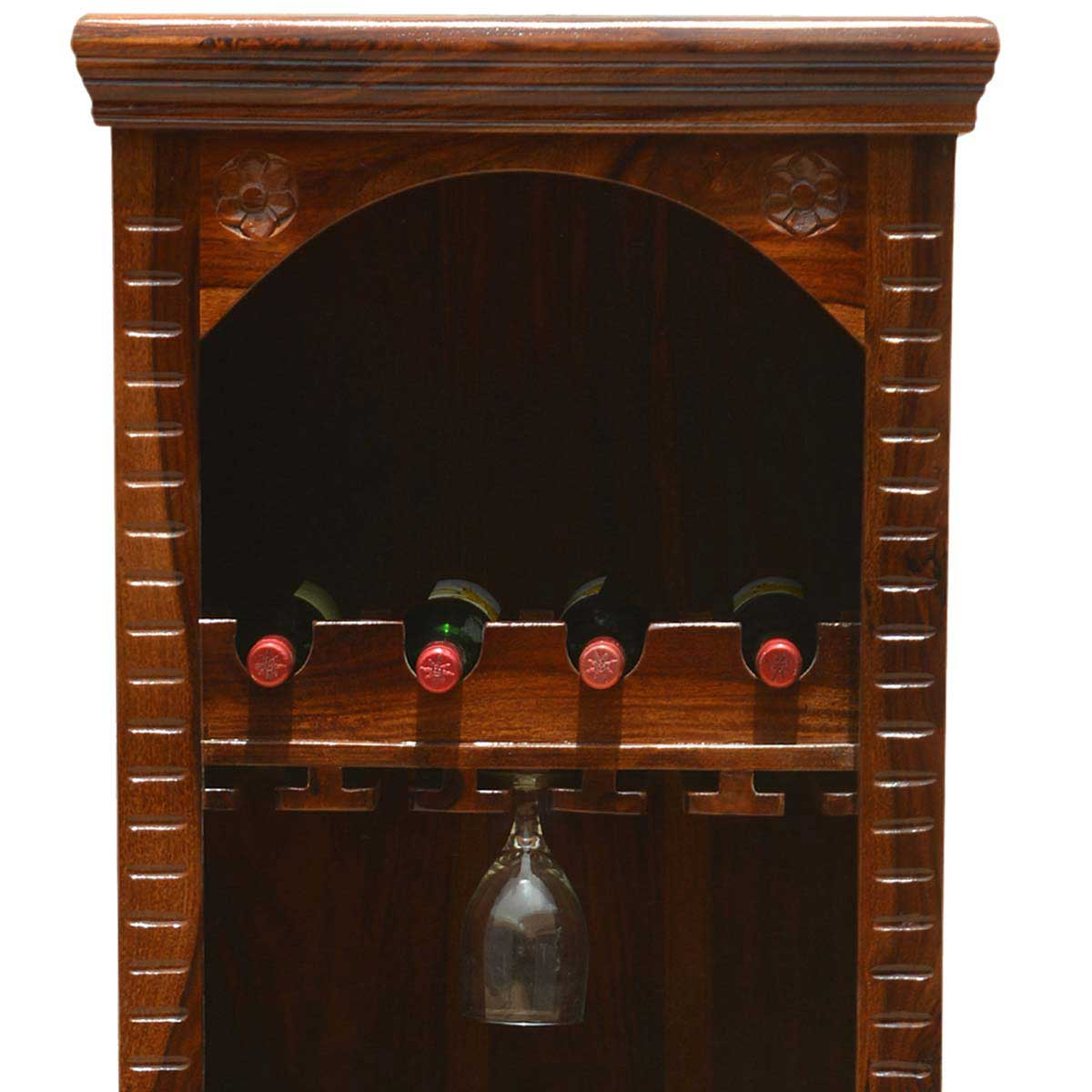 kipton rustic solid wood handcrafted tall wine bar cabinet. Black Bedroom Furniture Sets. Home Design Ideas