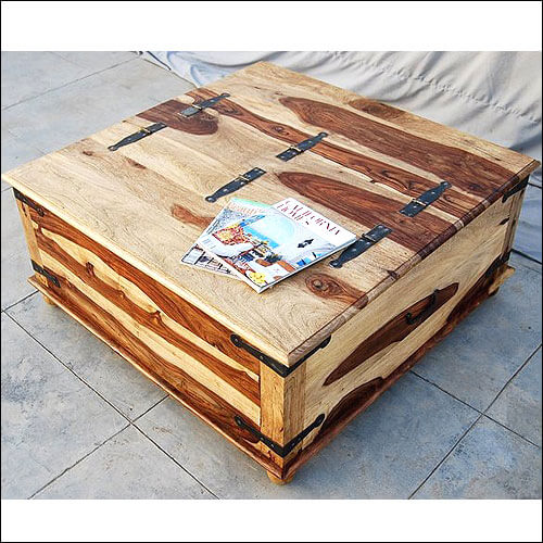 Unique Wood Square Storage Trunk Cocktail Coffee Table