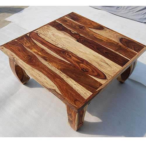 Coffee Tables Dallas Natural Solid Wood 35 Square Opium Coffee Table
