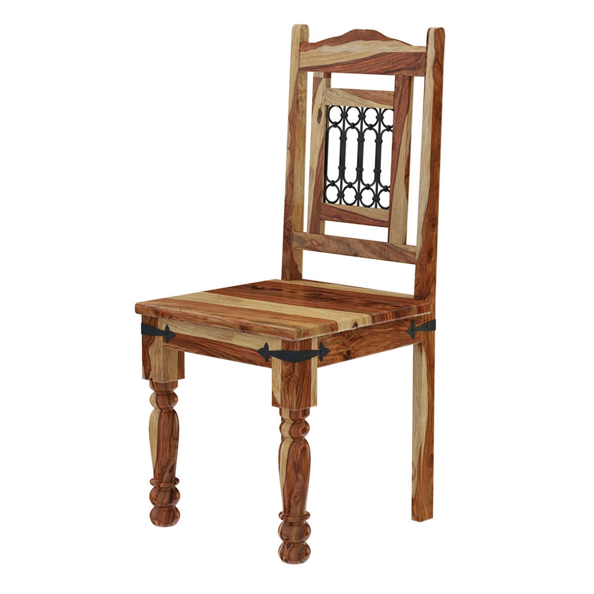 Dining Chairs Kitchen Chairs: Vandana Solid Wood & Wrought Iron Rustic Kitchen Dining Chair