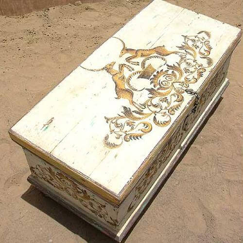 White Distressed Finish Wood Storage Trunk Coffee Table