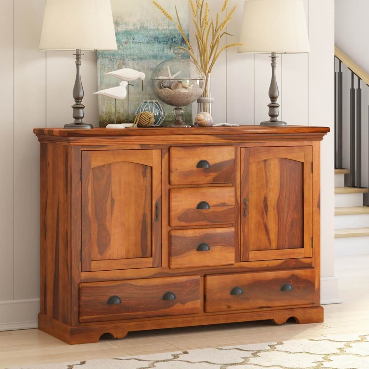 rustic solid wood 5 drawer traditional dining room buffet sideboard