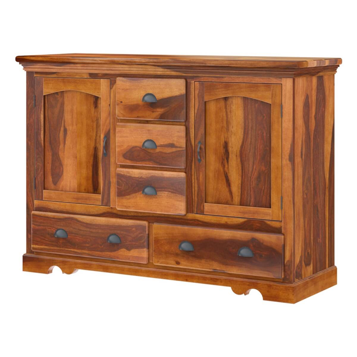 Rustic solid wood 5 drawer traditional dining room buffet for Dining room buffet