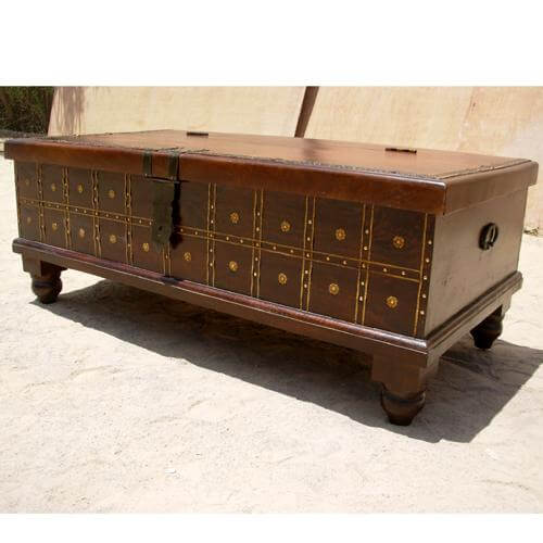 Solid Wood Coffee Tables With Storage Cabinets For Sale: Solid Wood Rustic Storage Trunk Cabinet Coffee Table