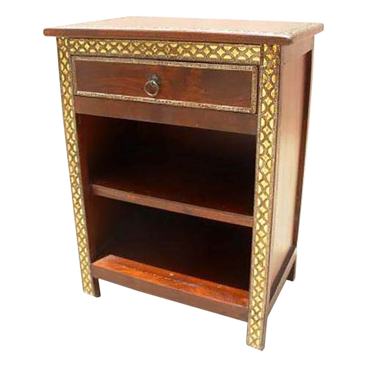 Wood Side Tables With Storage ~ Wood brass accent storage end night stand side table