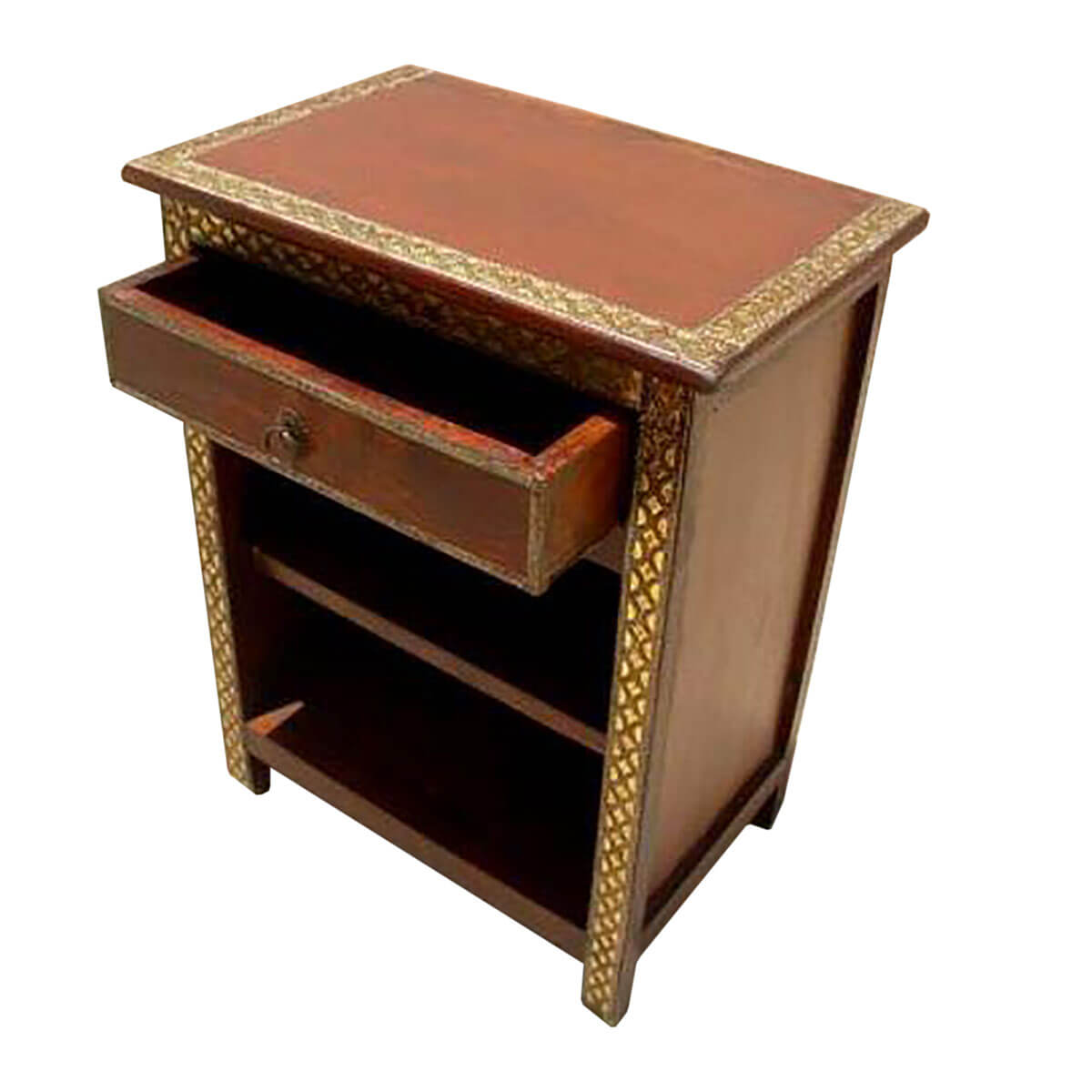 Wood brass accent storage end night stand side table