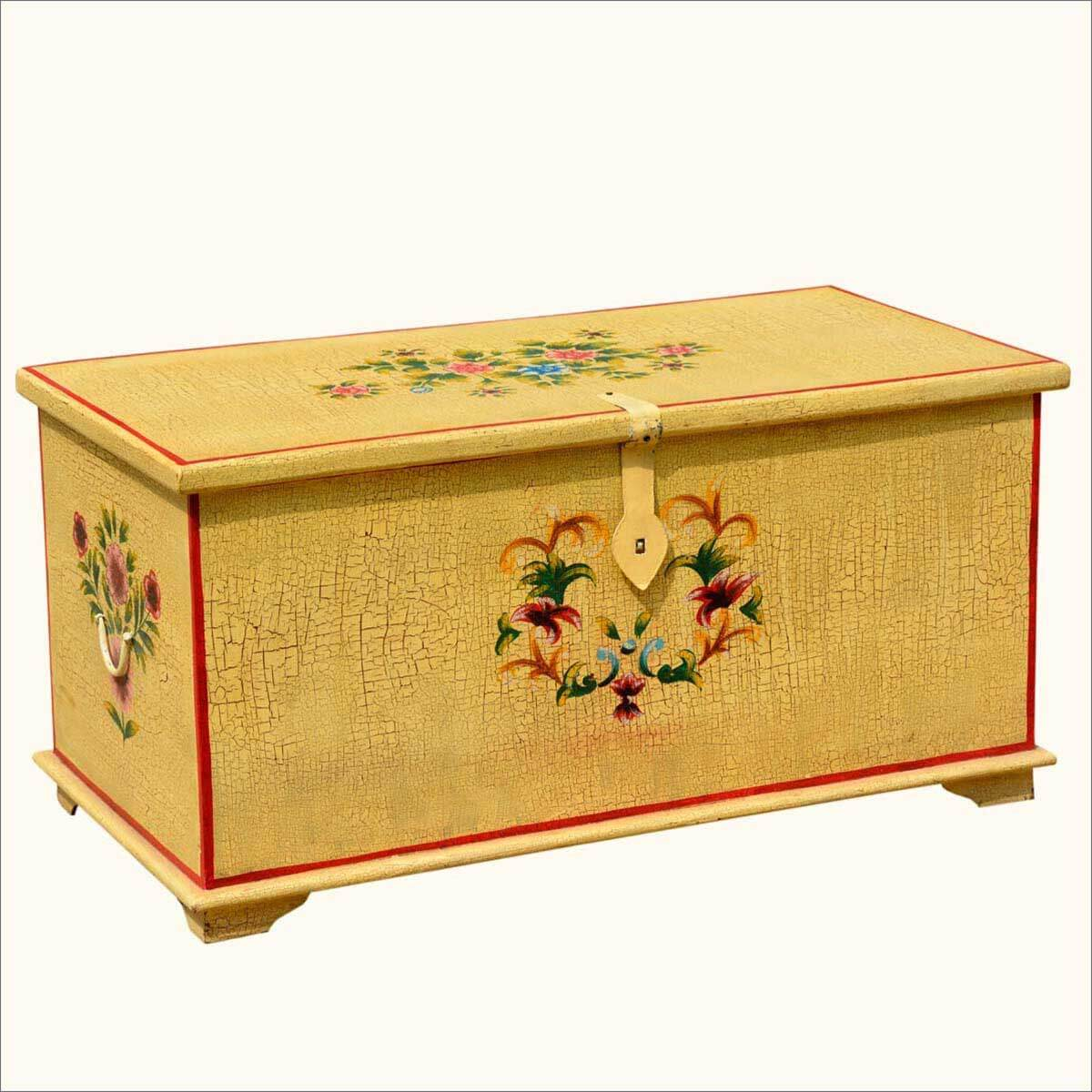 Whimsy wood distressed hand painted storage trunk