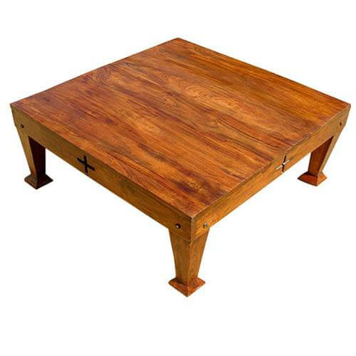Rosewood unique craftsman design square cocktail coffee table for Unusual cocktail tables