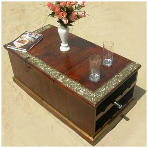 Wood Wine Rack Storage Box Coffee Table