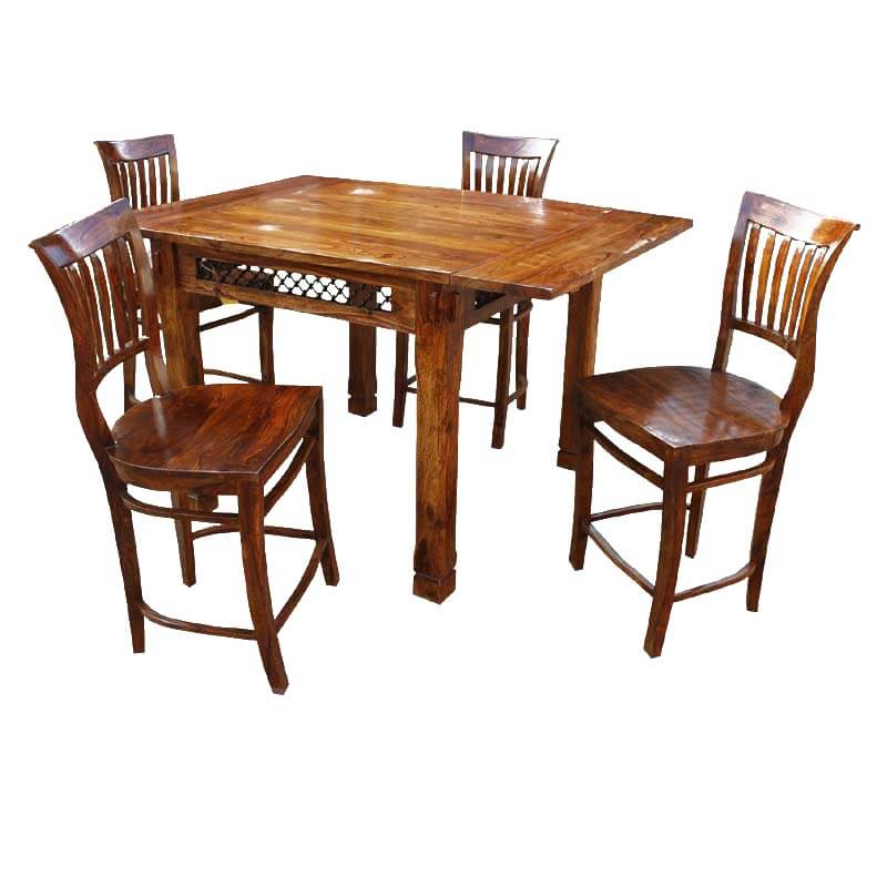 santa counter height 5 pc dining room table chair set