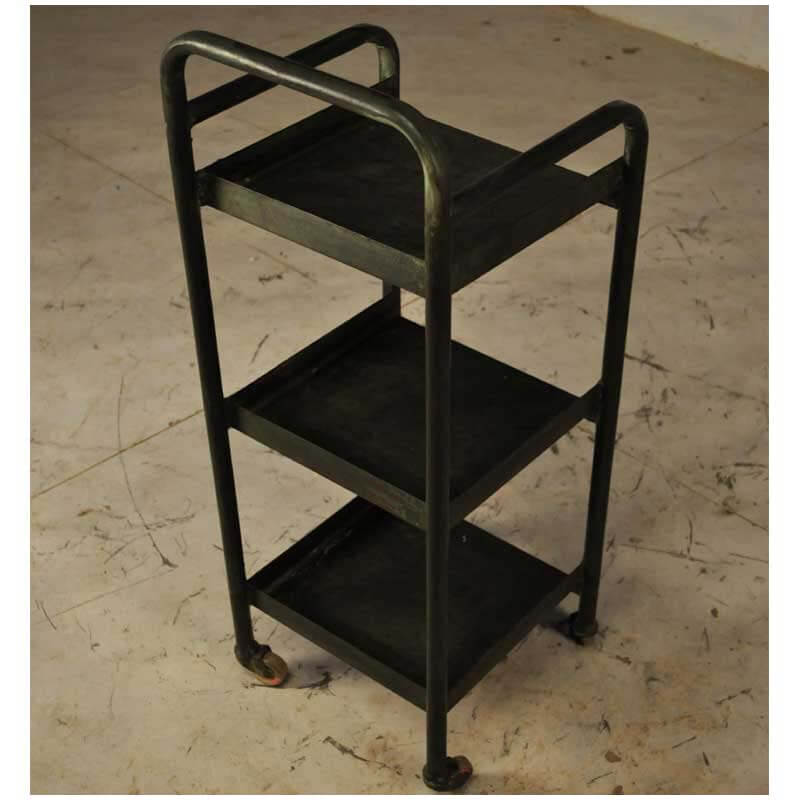 Industrial Rolling Kitchen Cart: Industrial 3 Tier Black Iron Rolling Kitchen Cart