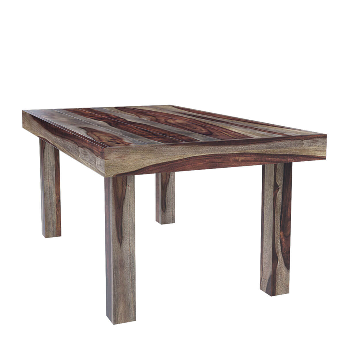 Frisco modern solid wood rectangular rustic dining room table for Modern rectangular dining table