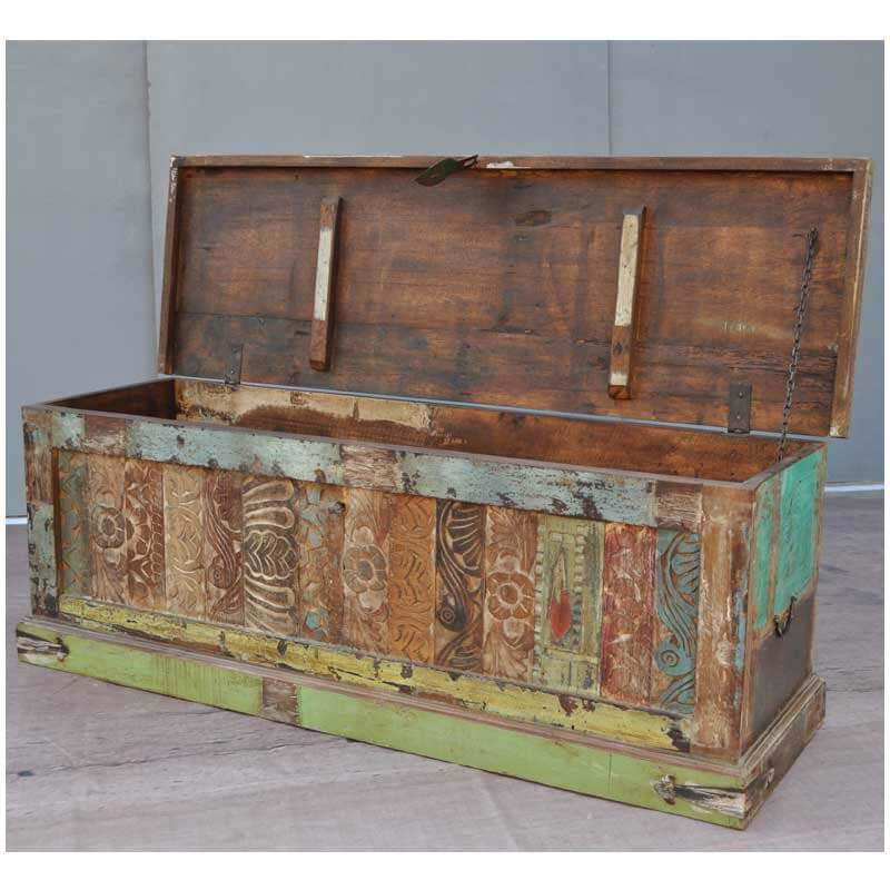 Oversized Carved Distressed Coffee Table Storage Box Chest
