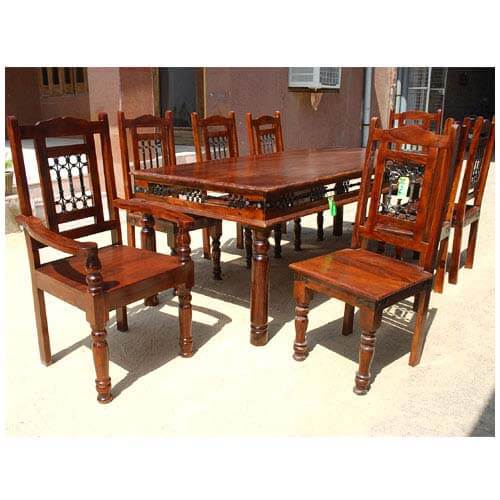 Wrought Iron Wood Dining Table: Solid Wood Classic Transitional Wrought Iron Dining Table