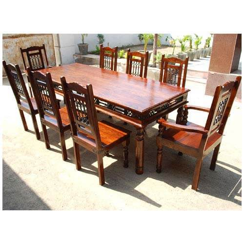 Solid Wood Transitional Dining Table And Chairs Set: Solid Wood Classic Transitional Wrought Iron Dining Table