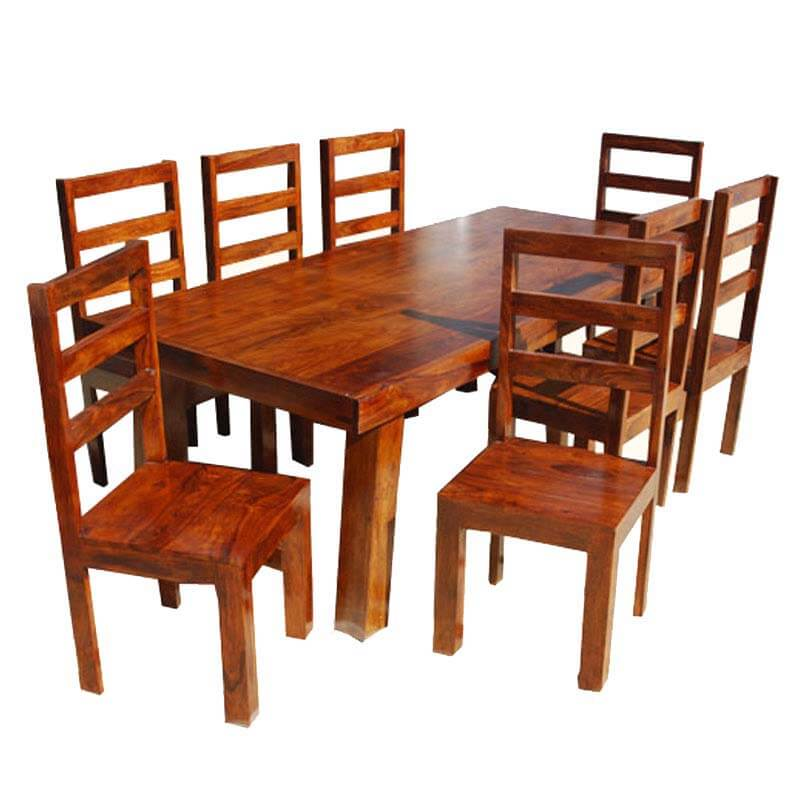 appalachian rustic 9pc contemporary school back chair dining room set. Black Bedroom Furniture Sets. Home Design Ideas