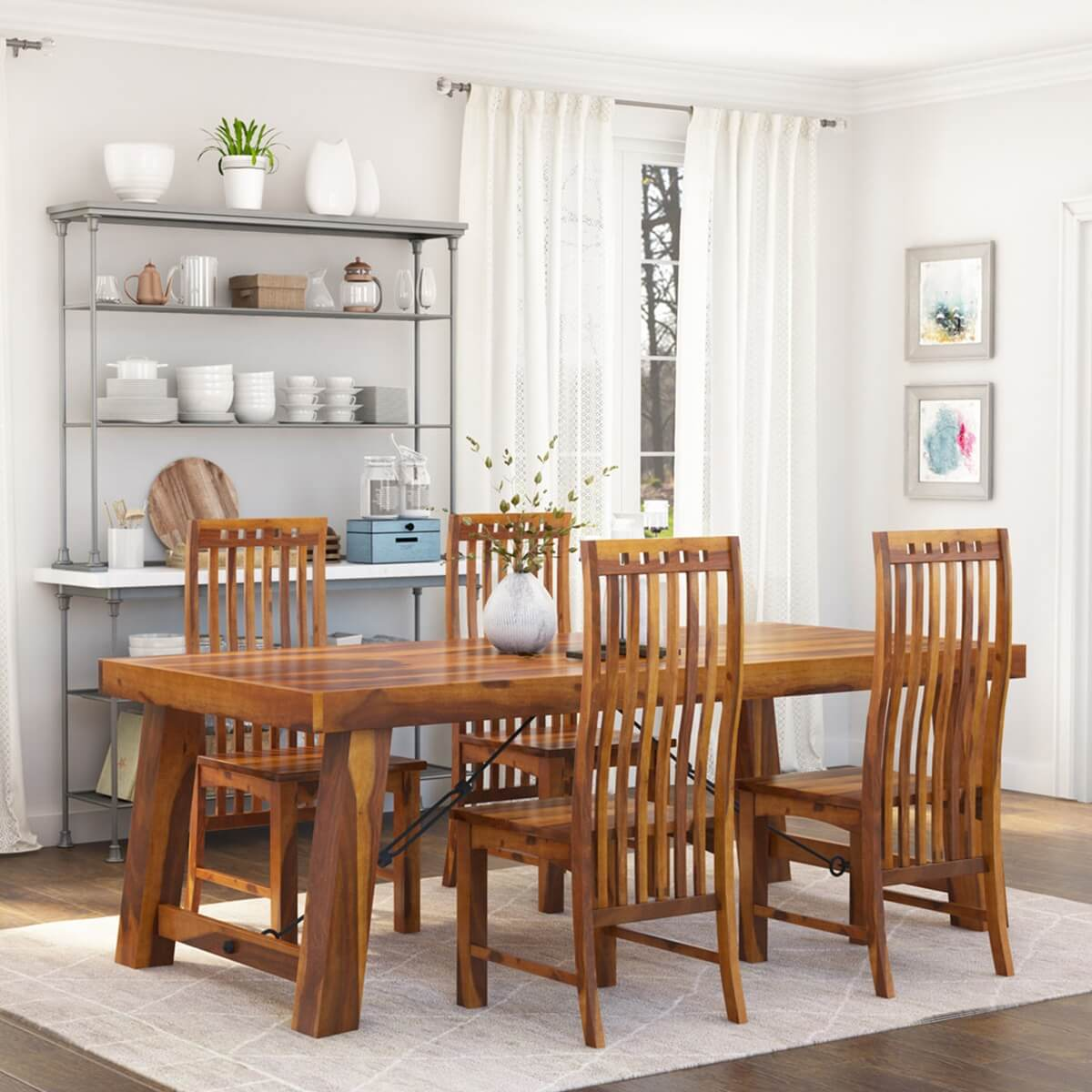 lincoln 5pc transitional dining room table chair set