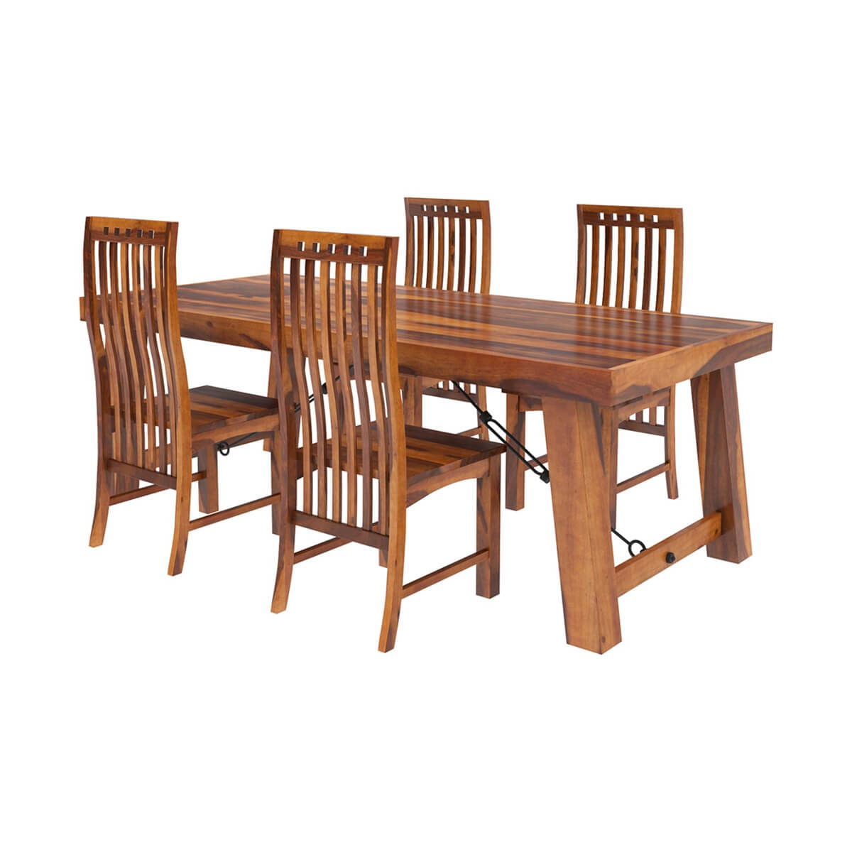 Transitional Dining Room Table: Lincoln 5pc Transitional Dining Room Table & Chair Set
